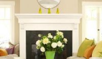 White fireplace with flowers