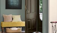 Entryway with brown door