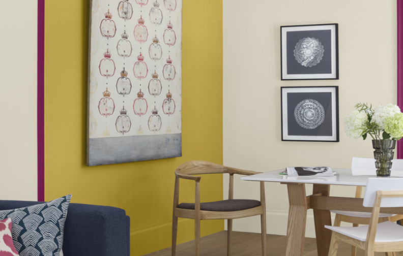 Dinning table and yellow wall