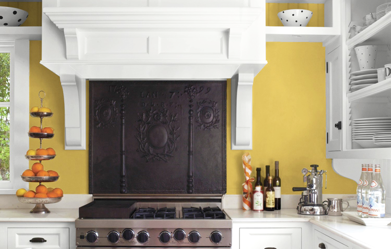 Kitchen with red painted walls